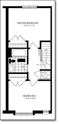 Second floor layout plan of a home.
